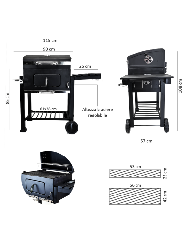 Dimensioni barbecue a carbone grande